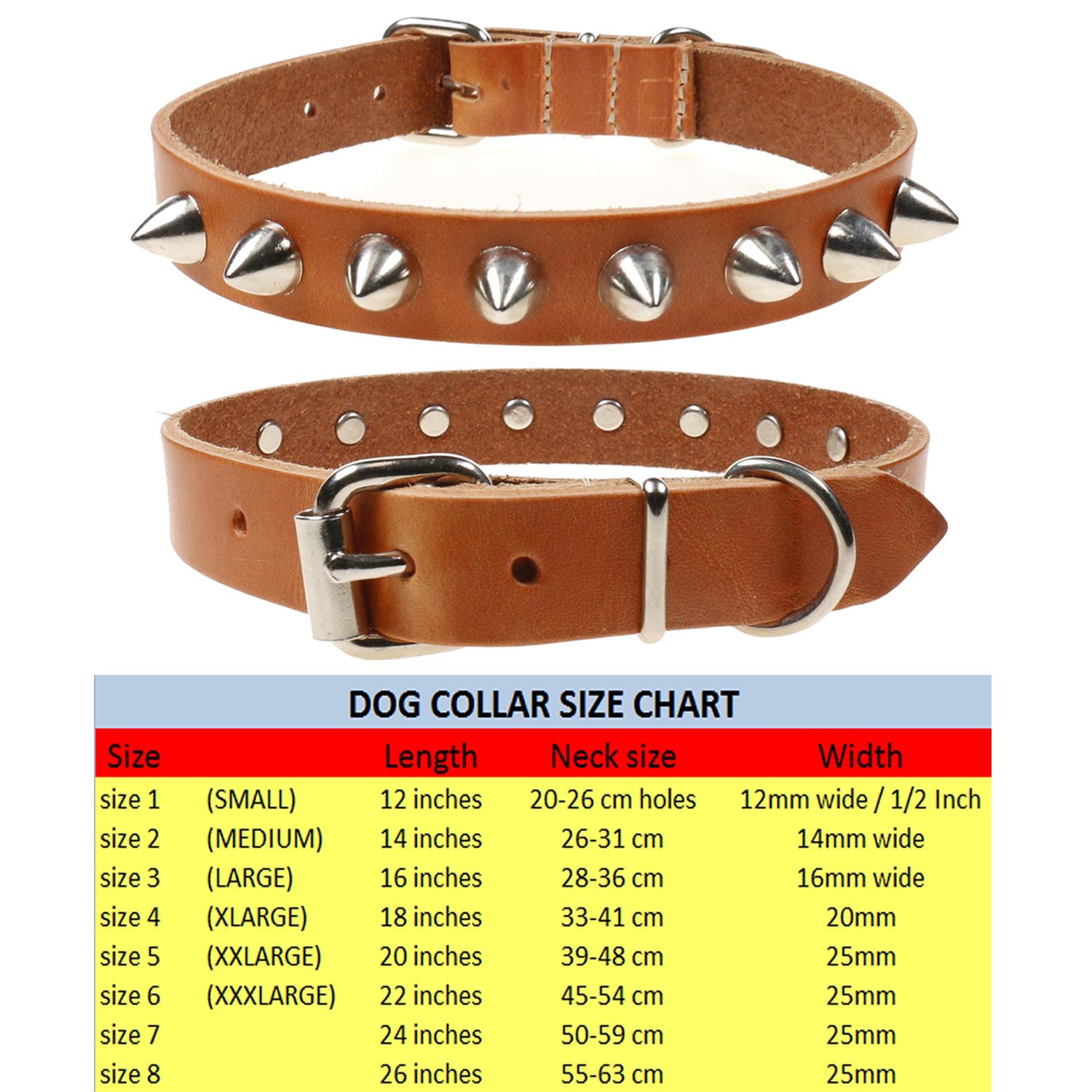 """Real Leather Dog Collar 24/""""-28/"""" neck size 1,5/"""" wide"""